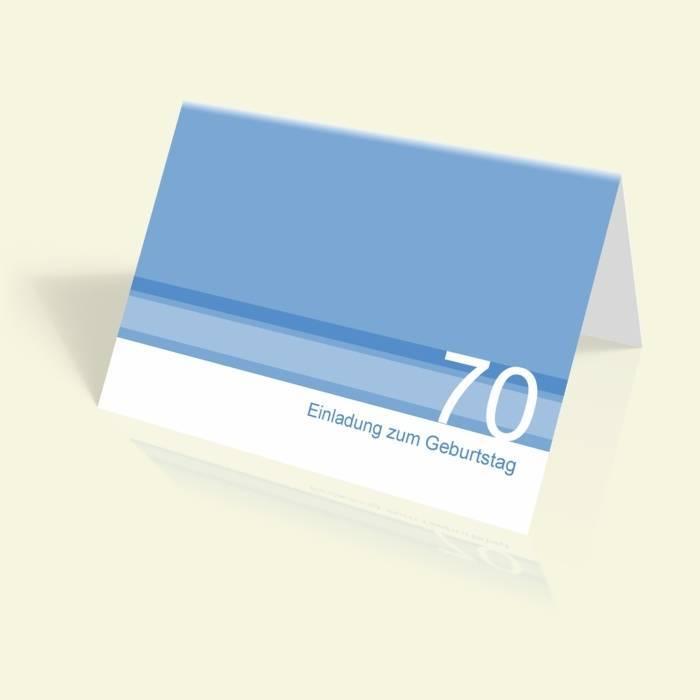 Einladung zum 70. Geburtstag- Blaue Streifen