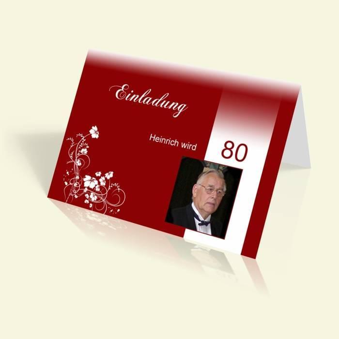 Geburtstag   Einfarbig, Einladungskarte 70. Geburtstag   Weiße Rosenranke