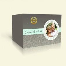 Danksagungskarte Goldene Hochzeit Blumen und Blätter in grau