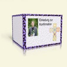 Einladung Konfirmation - Lila Blumen