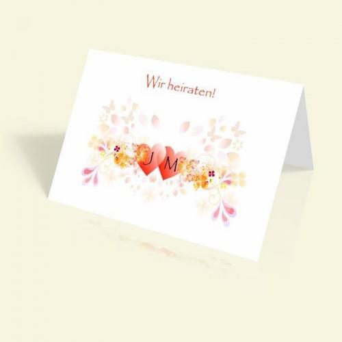 Einladung zur Hochzeit - Herzen - vertikal klappbar