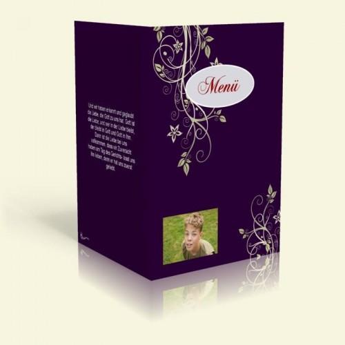 Menükarte - Blumenranke - Marine