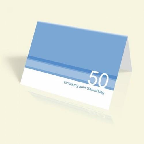 Geburtstagskarte - Blaue Streifen - vertikal klappbar