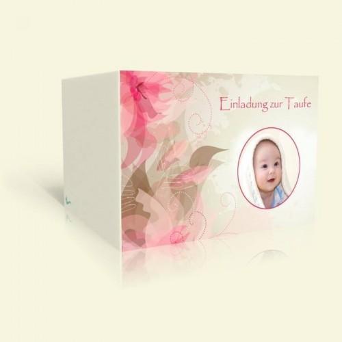 Einladung zur Taufe Rosa Blüten