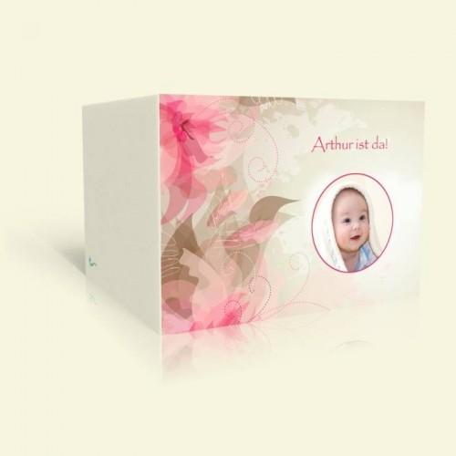 Geburtskarte Rosa Blüten