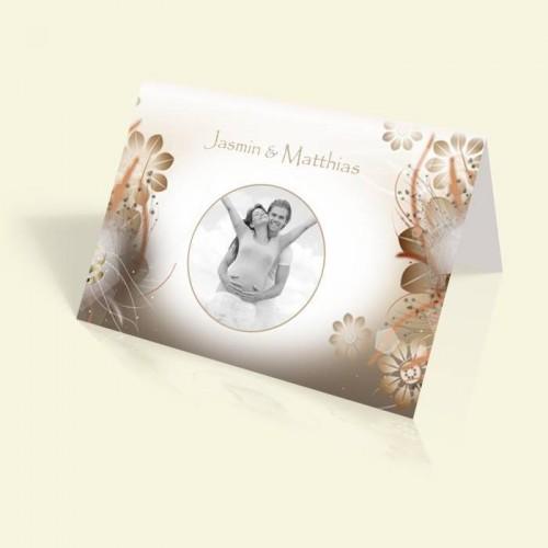 Hochzeitskarte - Blüten in Braun - vertikal klappbar