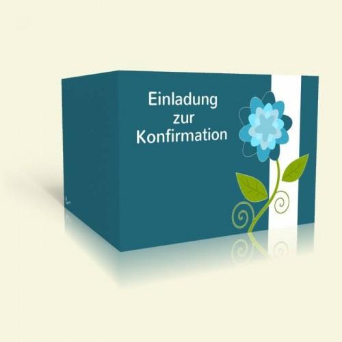 Einladungskarte zur Konfirmation - Blaue Blume