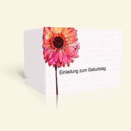 Einladungskarte zum Geburtstag - Aquarellblume