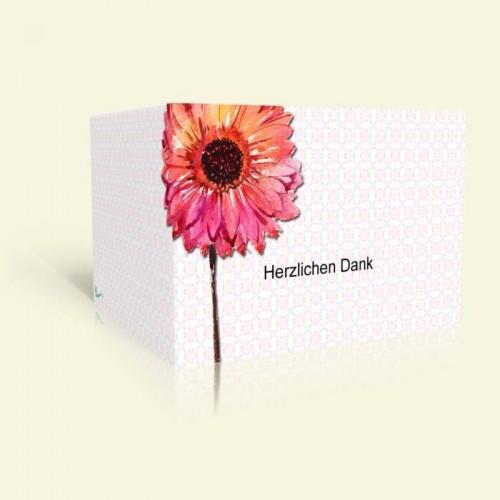 Danksagungskarte zur Hochzeit - Aquarellblume