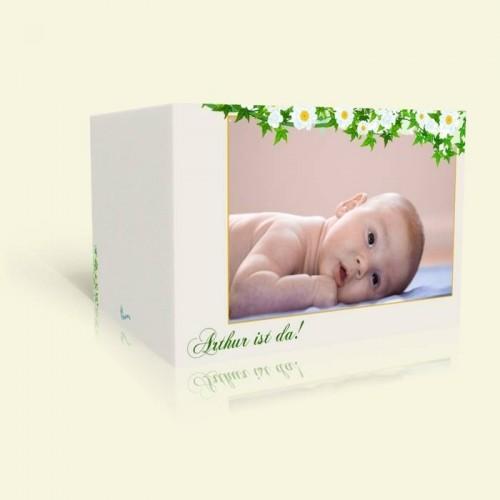 Karte zur Geburt eines Kindes Margeritenranke