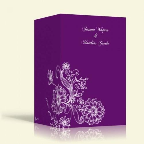 Einladung zur Hochzeit - Blumenmuster 2 - Hochformat