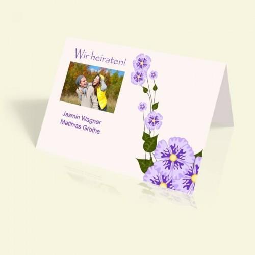 Hochzeitseinladung - Märchenhafte Blumenranke - vertikal klappbar