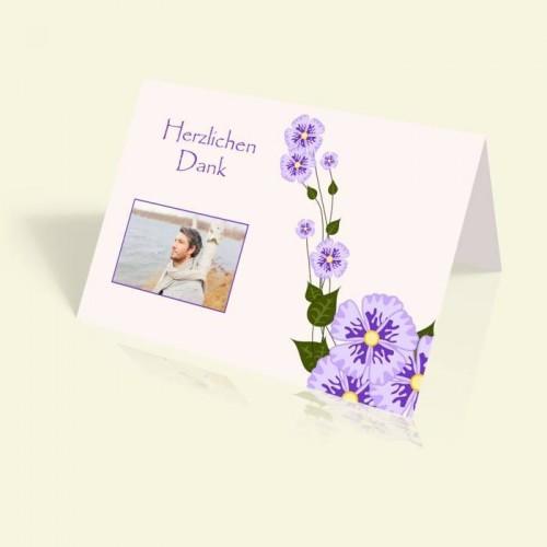 Danksagung Geburtstag - Märchenhafte Blumenranke - vertikal klappbar