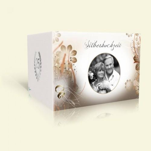 Danksagungskarte Silberhochzeit Blüten in Braun