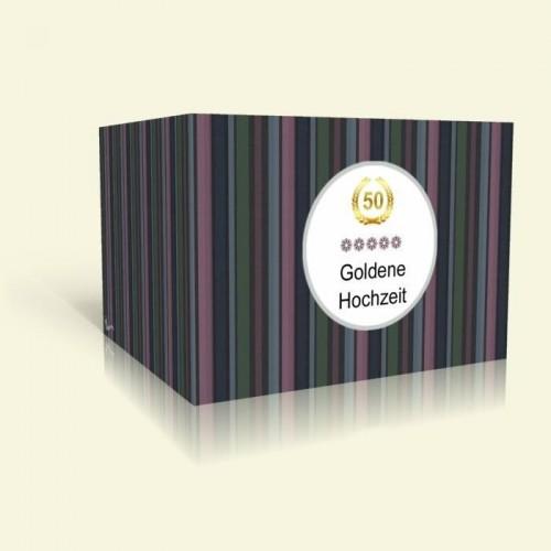 Einladungskarte Goldene Hochzeit - Dunkle Streifen