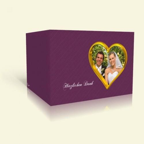 Danksagung Hochzeit - Goldherz