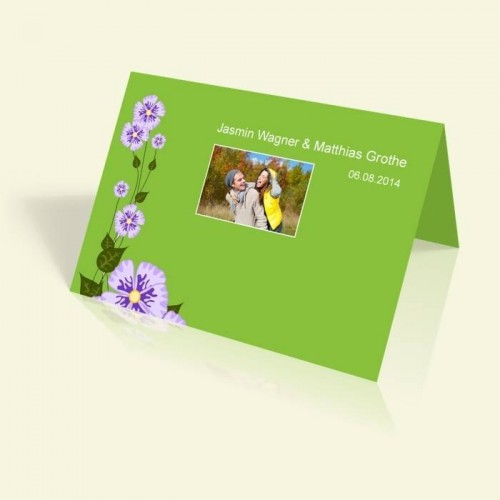 Einladungskarte zur Hochzeit - Grün - vertikal klappbar