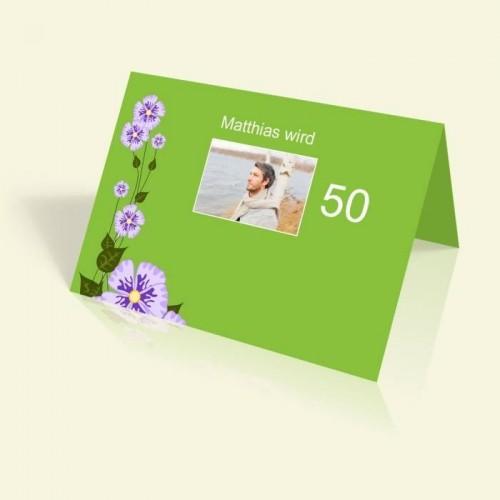 Einladungskarte zum Geburtstag - Grün - vertikal klappbar