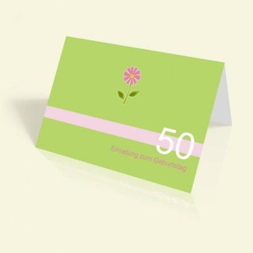 Einladungskarte zum Geburtstag - Grün mit Blümchen - vertikal klappbar