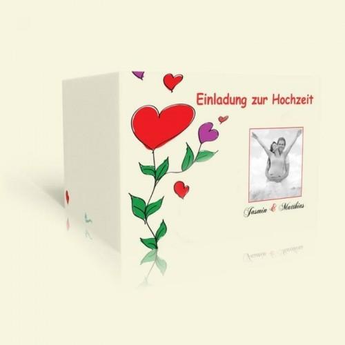 Hochzeitskarten online gestalten, Happy Flowers