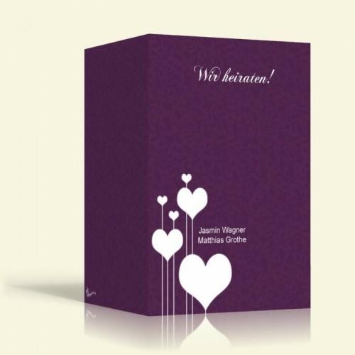 Karte zur Hochzeit - Herzen auf lila - Hochformt