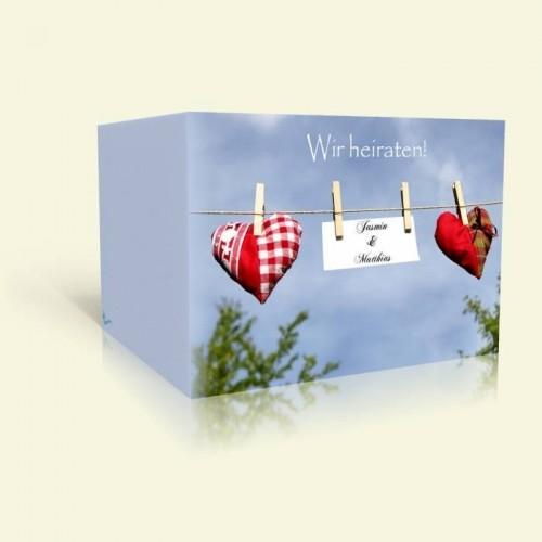 Einladungskarte Hochzeit Herzen an der Leine