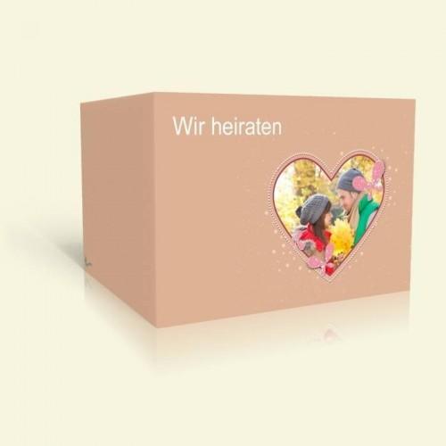 Einladungkarte Hochzeit - Herz mit Schmetterlingen