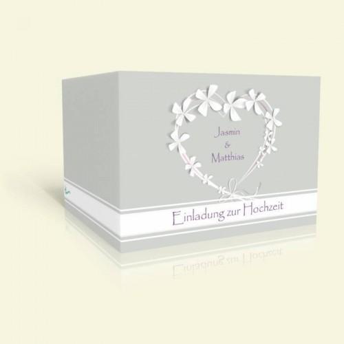 Einladungkarte zur Hochzeit - Herzkranz