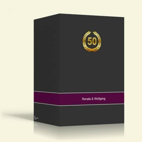Einladungskarte zur Goldenen Hochzeit - Anthrazit - Hochformat