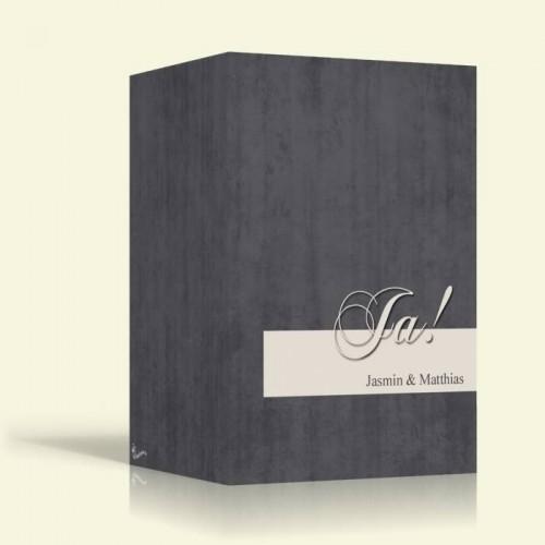 Hochzeitseinladungen - Ja auf Grau - Hochformat