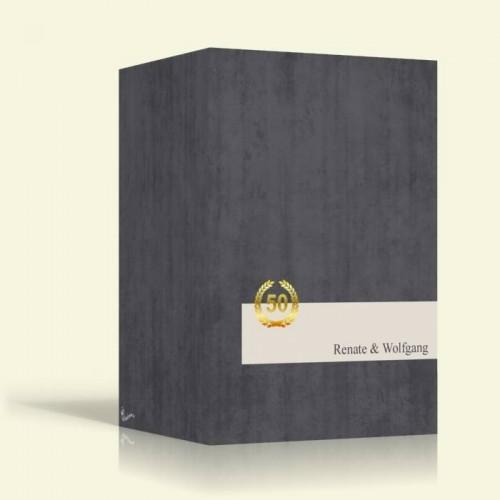 Goldene Hochzeit Einladung - Mamorgrau - Hochformat
