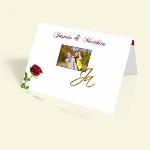 Einladungskarte zur Hochzeit - JA - vertikal klappbar