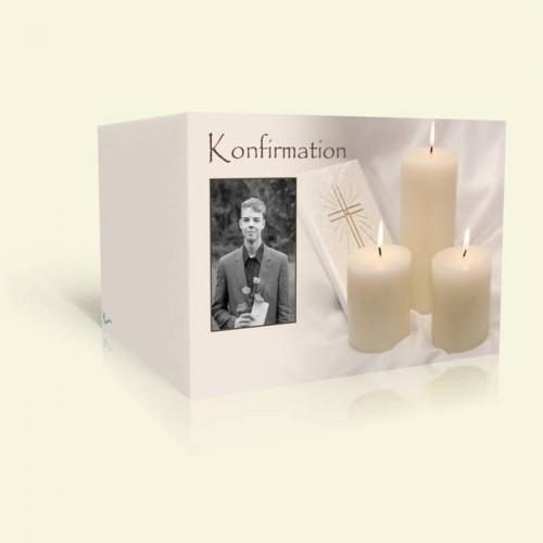 Konfirmationskarte Kerzen mit Bibel