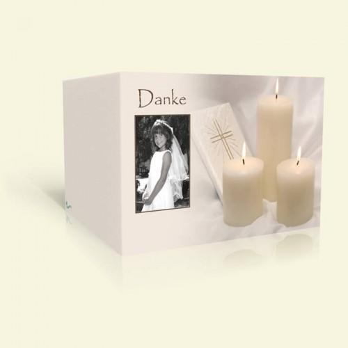 Danksagung zur Kommunion Kerzen mit Bibel