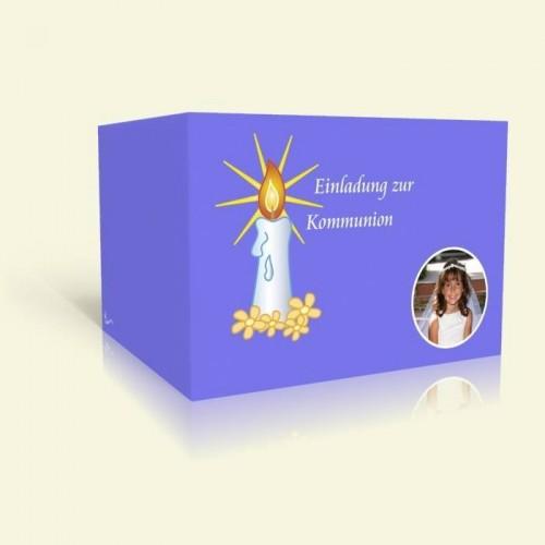 Einladungskarte zur Kommunion - Kerzenlicht