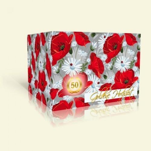 Einladungskarte zur Goldenen Hochzeit - Mohnfeld