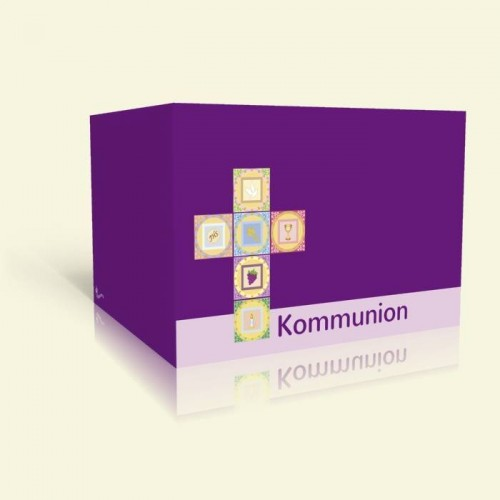 Einladungskarte zur Kommunion - Kreuz auf Lila