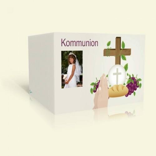 Einladungskarte zur Kommunion - Christliche Symbole