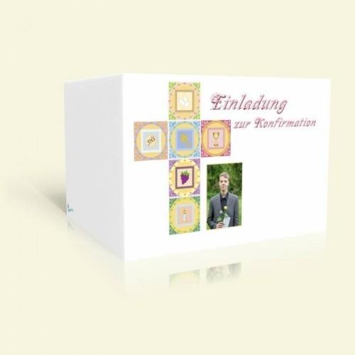 Einladung zur Konfirmation Symbolkreuz