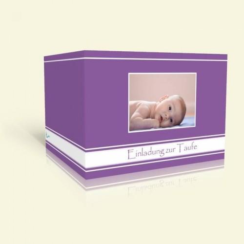 Einladungskarte zur Taufe - Lila