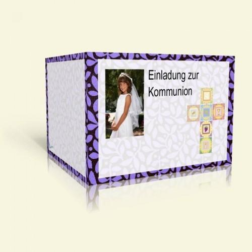 Einladungskarte zur Kommunion - Lila Blumen