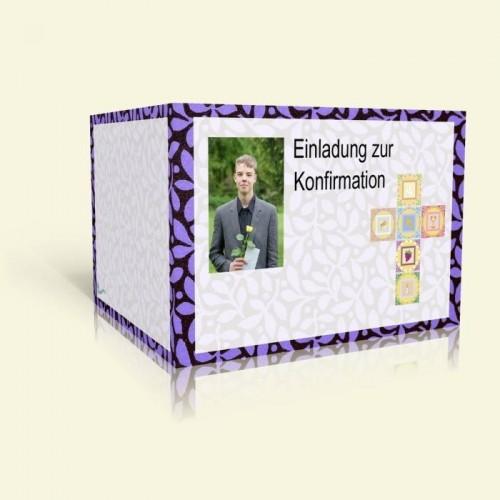 Einladungskarte zur Konfirmation - Lila Blumen