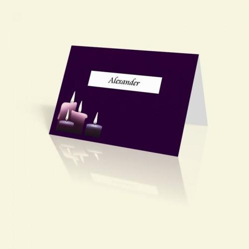 Tischkarte Lila Kerzen
