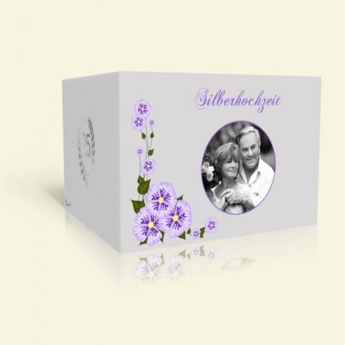 Einladung Silberhochzeit Märchenhafte Blumenranke
