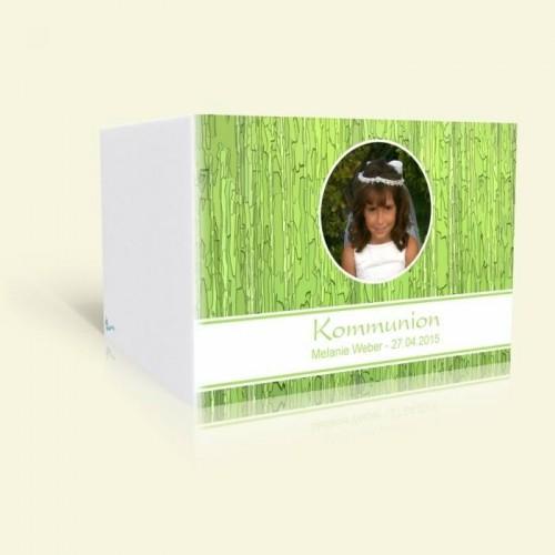Einladungskarte zur Kommunion - Grünes Muster