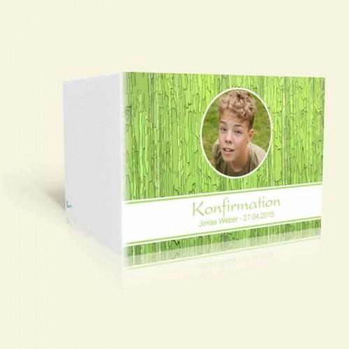 Einladungskarte zur Konfirmation - Grünes Muster