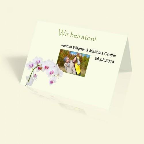 Einladungskarte zur Hochzeit - Orchidee - vertikal klappbar