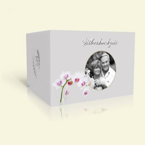 Einladungskarte zur Silberhochzeit Orchidee