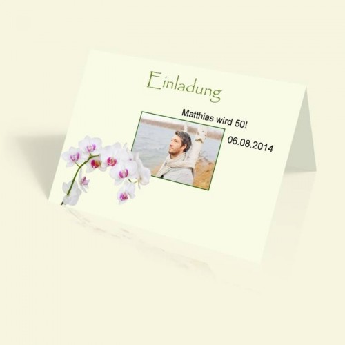 Geburtstagskarte - Orchidee - vertikal klappbar