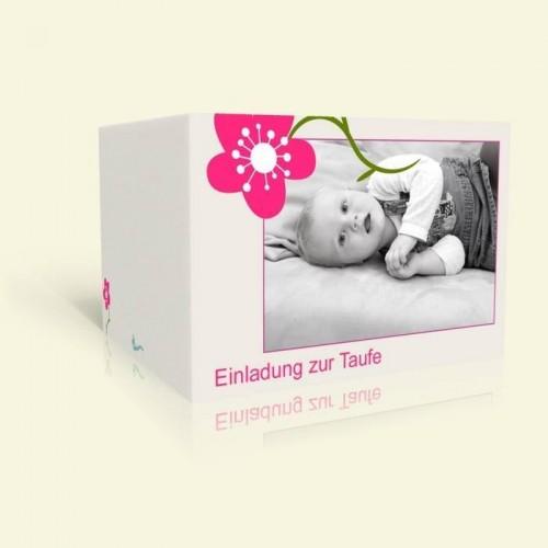 Einladungskarte zur Taufe Pink Flower